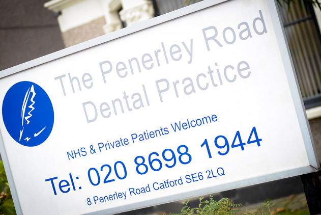 Sign outside Penerley Road dental practice